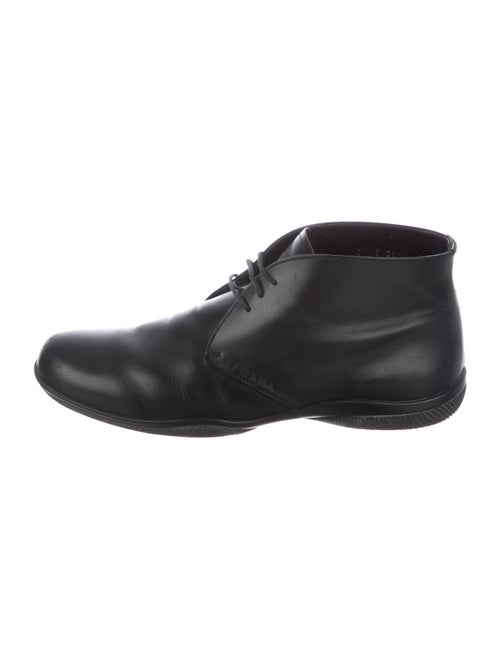 Prada Sport Leather Lace-Up Boots Black