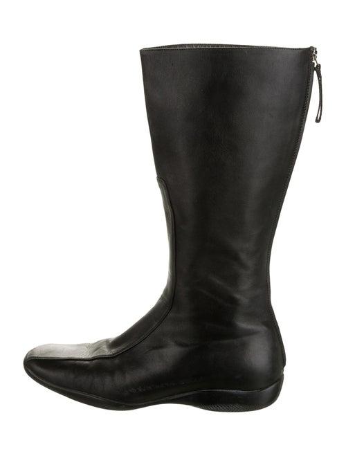 Prada Sport Leather Riding Boots Black