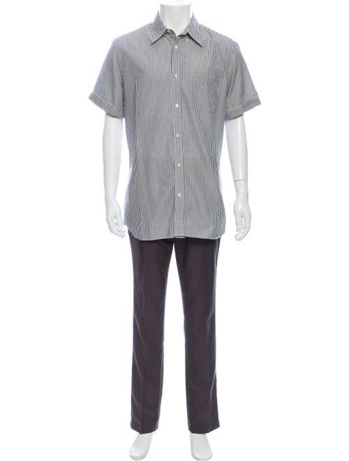 Prada Sport Striped Short Sleeve Shirt Black