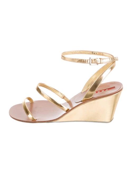 Prada Sport Leather Sandals Gold