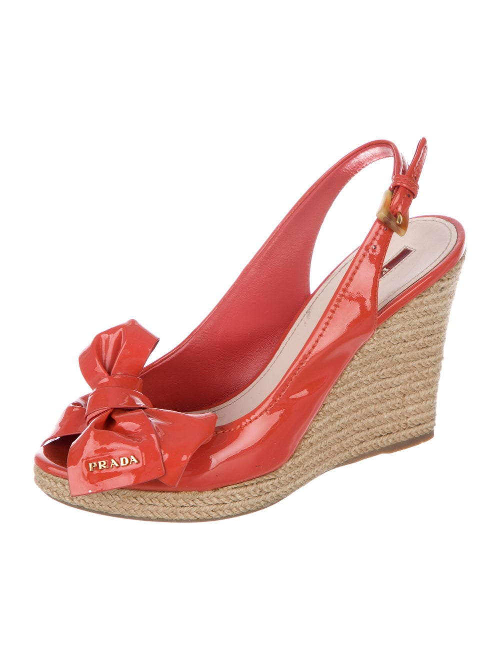 Prada Sport Patent Leather Bow Accents Espadrille… - image 2
