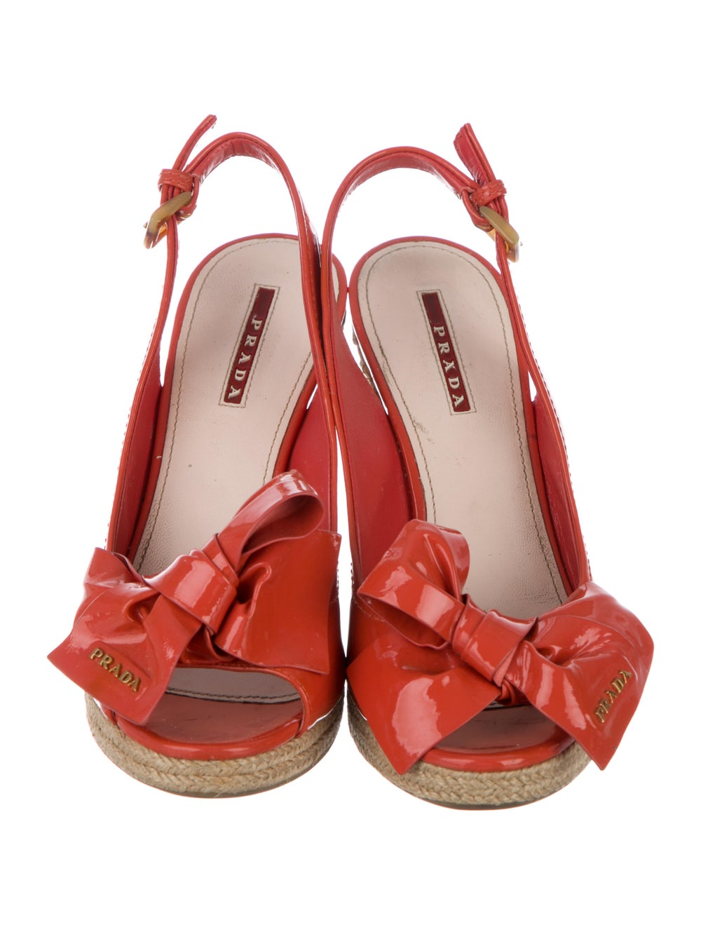 Prada Sport Patent Leather Bow Accents Espadrille… - image 3