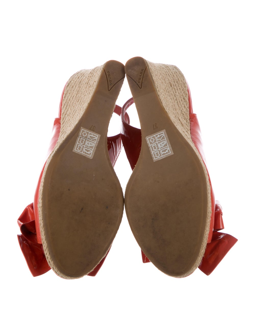 Prada Sport Patent Leather Bow Accents Espadrille… - image 5