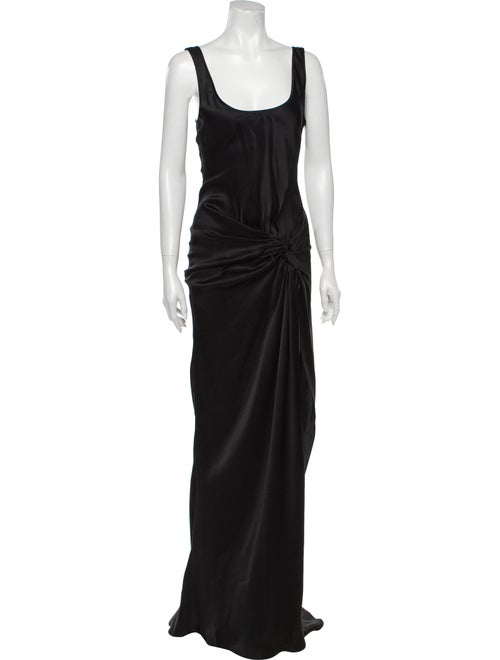 PRISCAVera Scoop Neck Long Dress Black