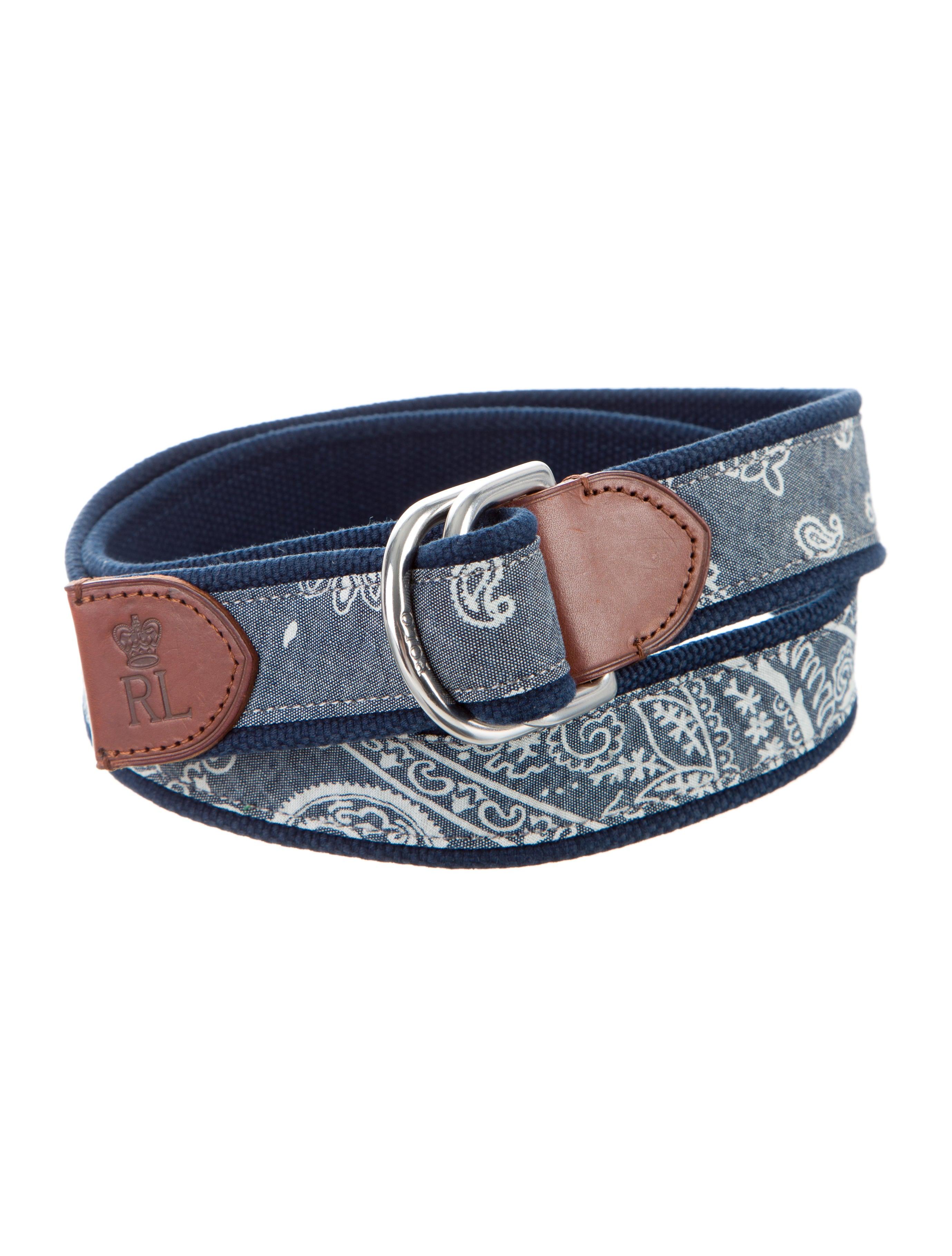 polo ralph lauren bandana print leather trimmed belt. Black Bedroom Furniture Sets. Home Design Ideas