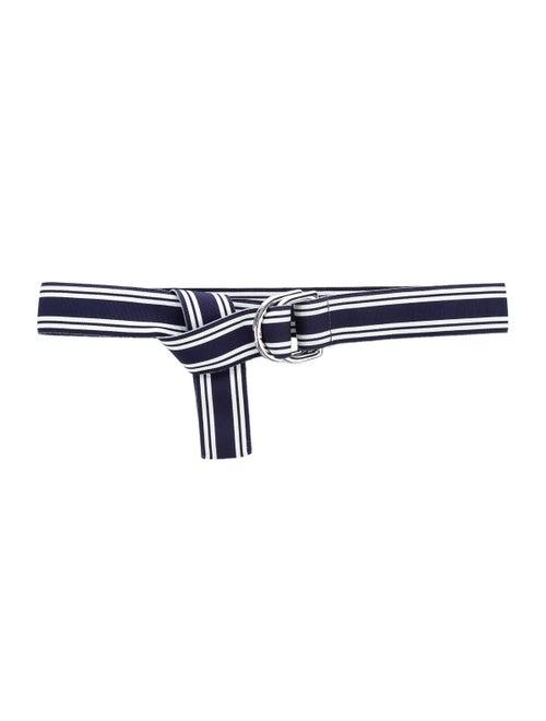 Polo Ralph Lauren Silver-Tone Buckle Striped Belt