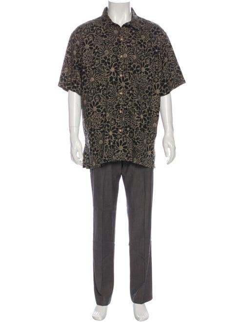 Polo Ralph Lauren Linen Floral Print Shirt Black