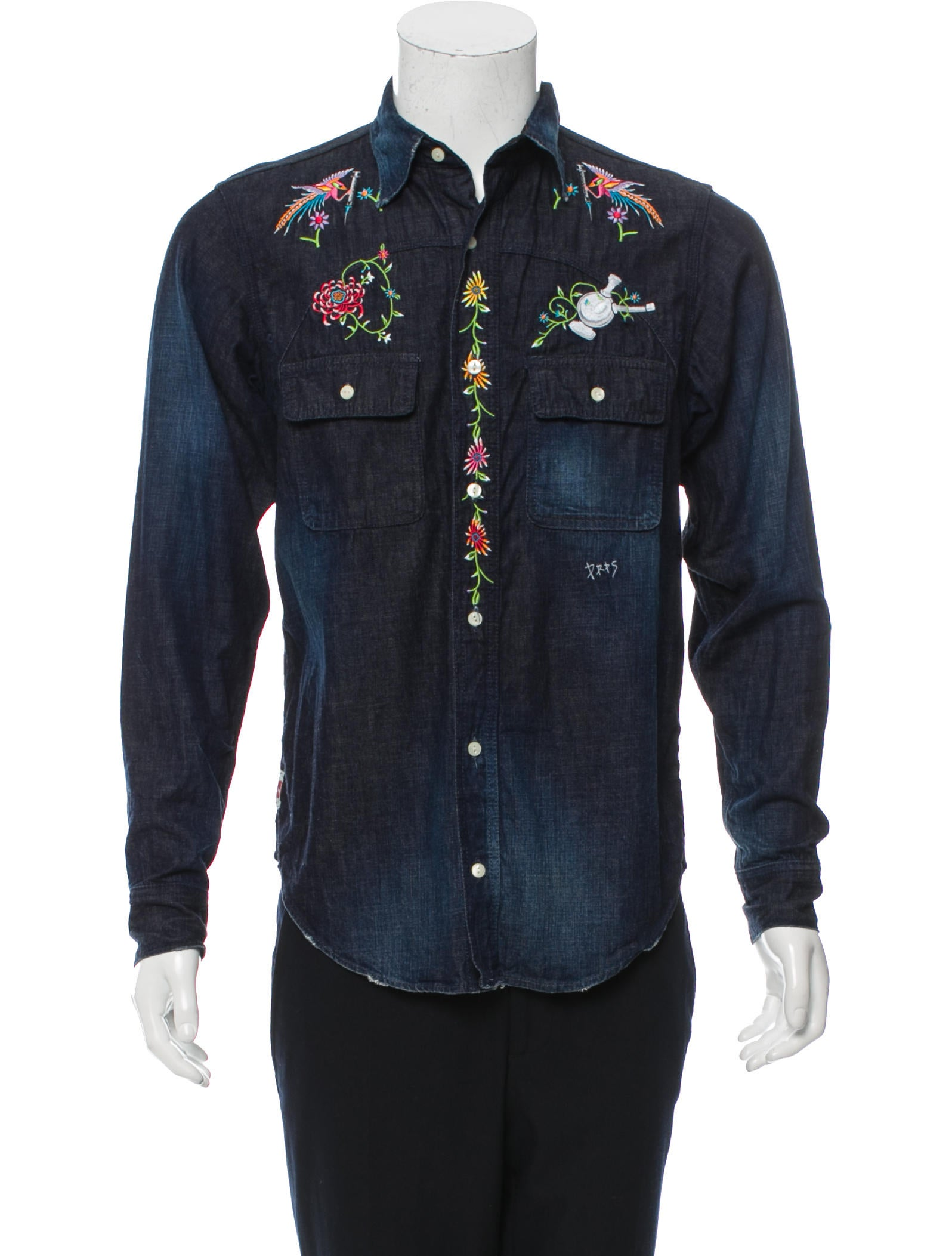 Prps embroidered denim shirt clothing wprps the