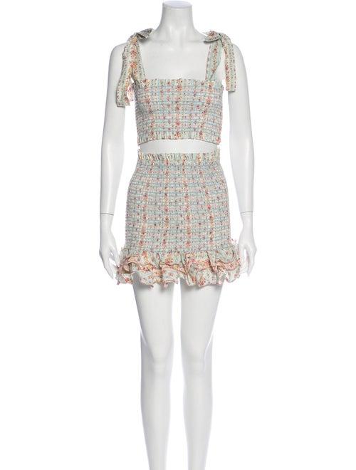 Petersyn Floral Print Ruffle Embellishment Skirt S