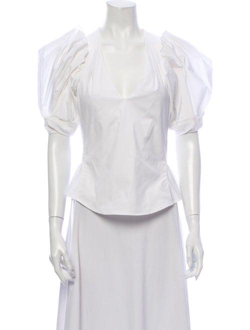 Petersyn V-Neck Short Sleeve Blouse White
