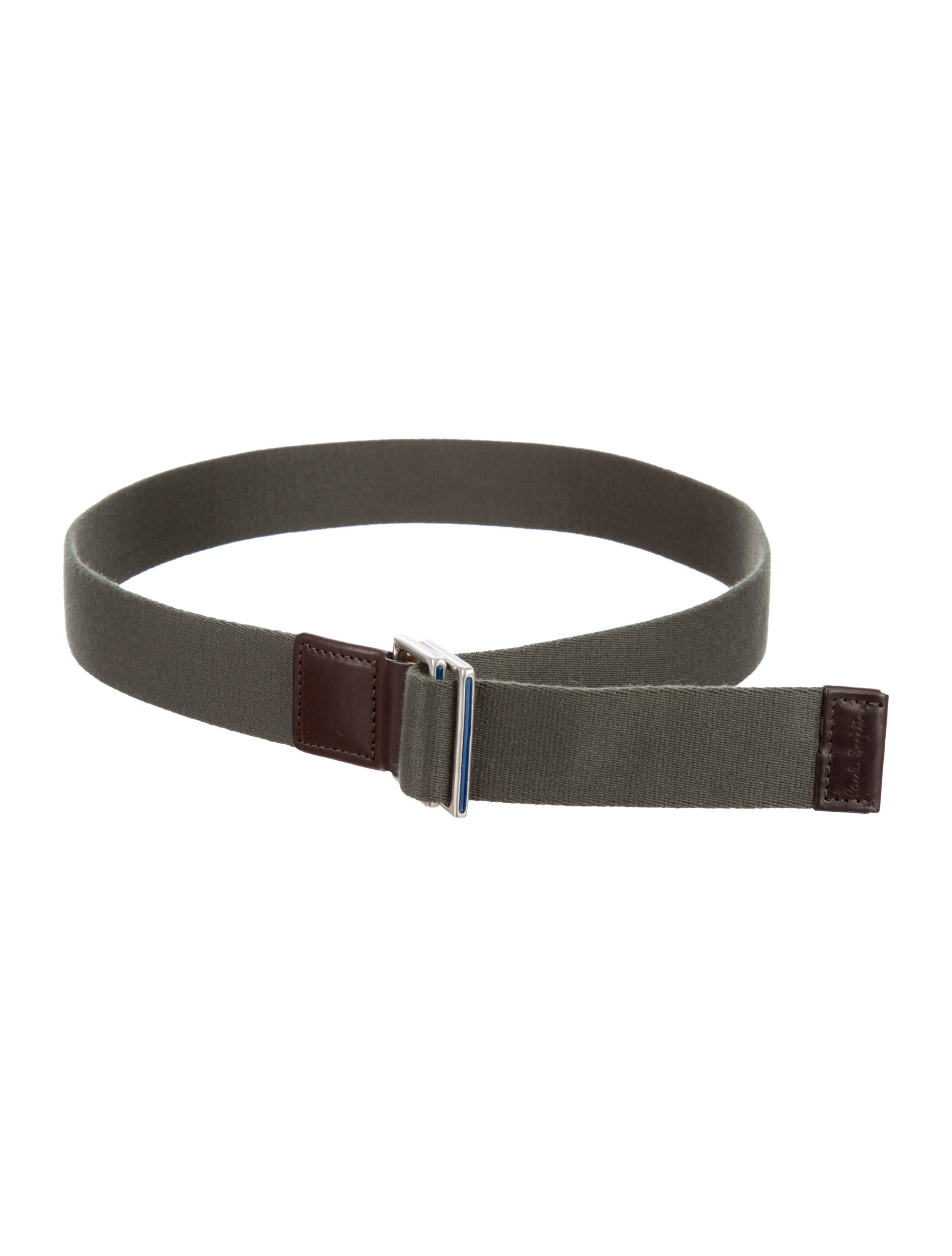 paul smith canvas leather trimmed belt accessories