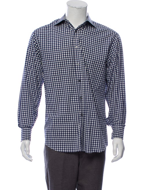Paul Smith Checkered French Cuff Woven Shirt blue