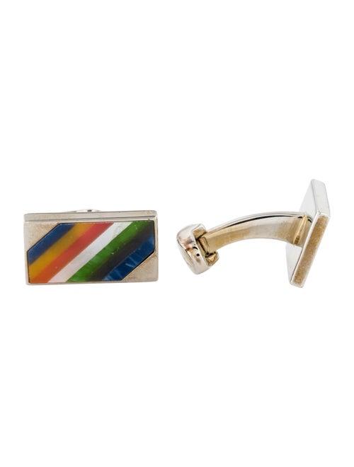 Paul Smith Rainbow Stripe Cufflinks silver