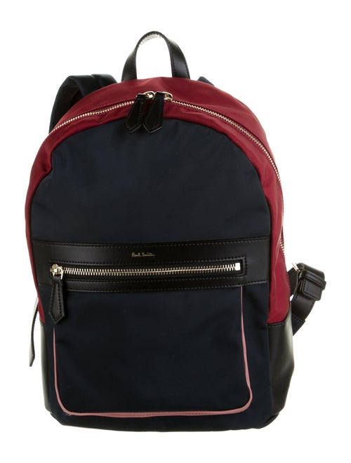 Paul Smith Leather-Trimmed Nylon Backpack Blue