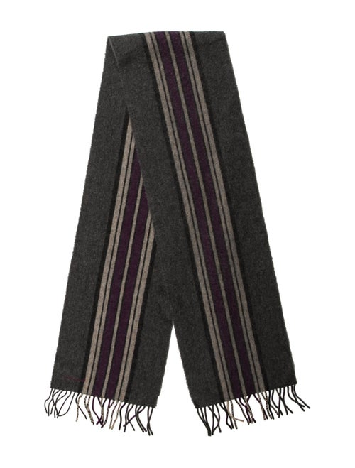 Paul Smith Striped Lambswool Scarf grey