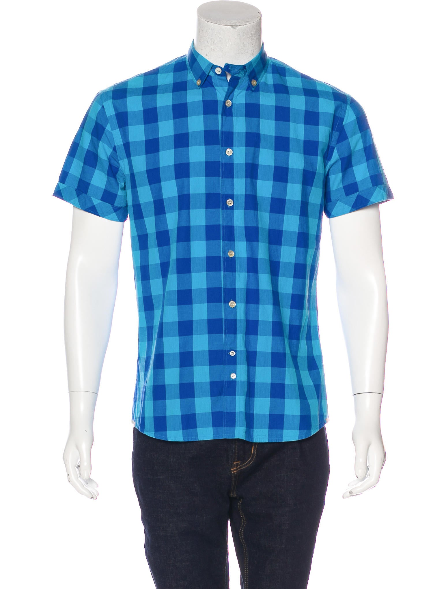 Paul smith jeans buffalo plaid short sleeve shirt for Buffalo plaid men s shirt