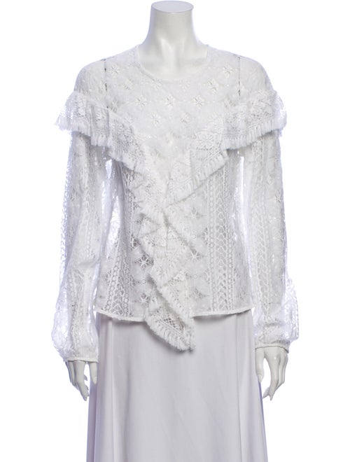 Rodebjer Lace Pattern Crew Neck Blouse White