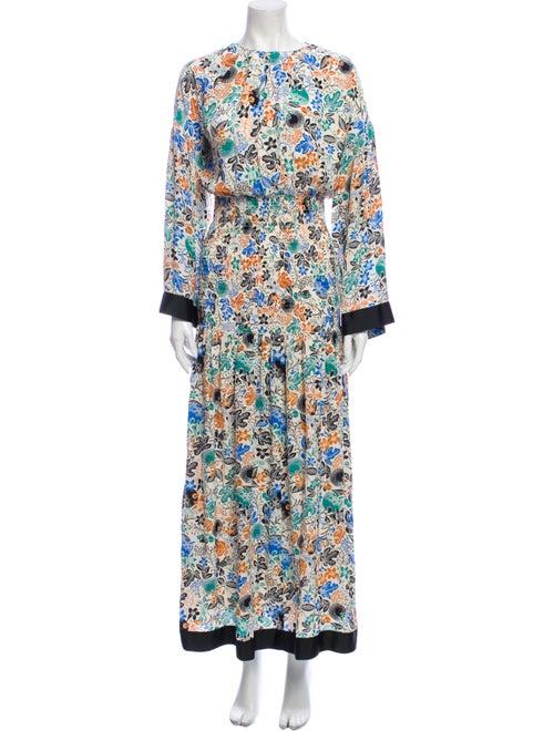 Rodebjer Floral Print Long Dress Blue