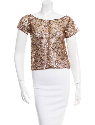 Richard Chai Love Sequined Embellished Short Sleeve Top None