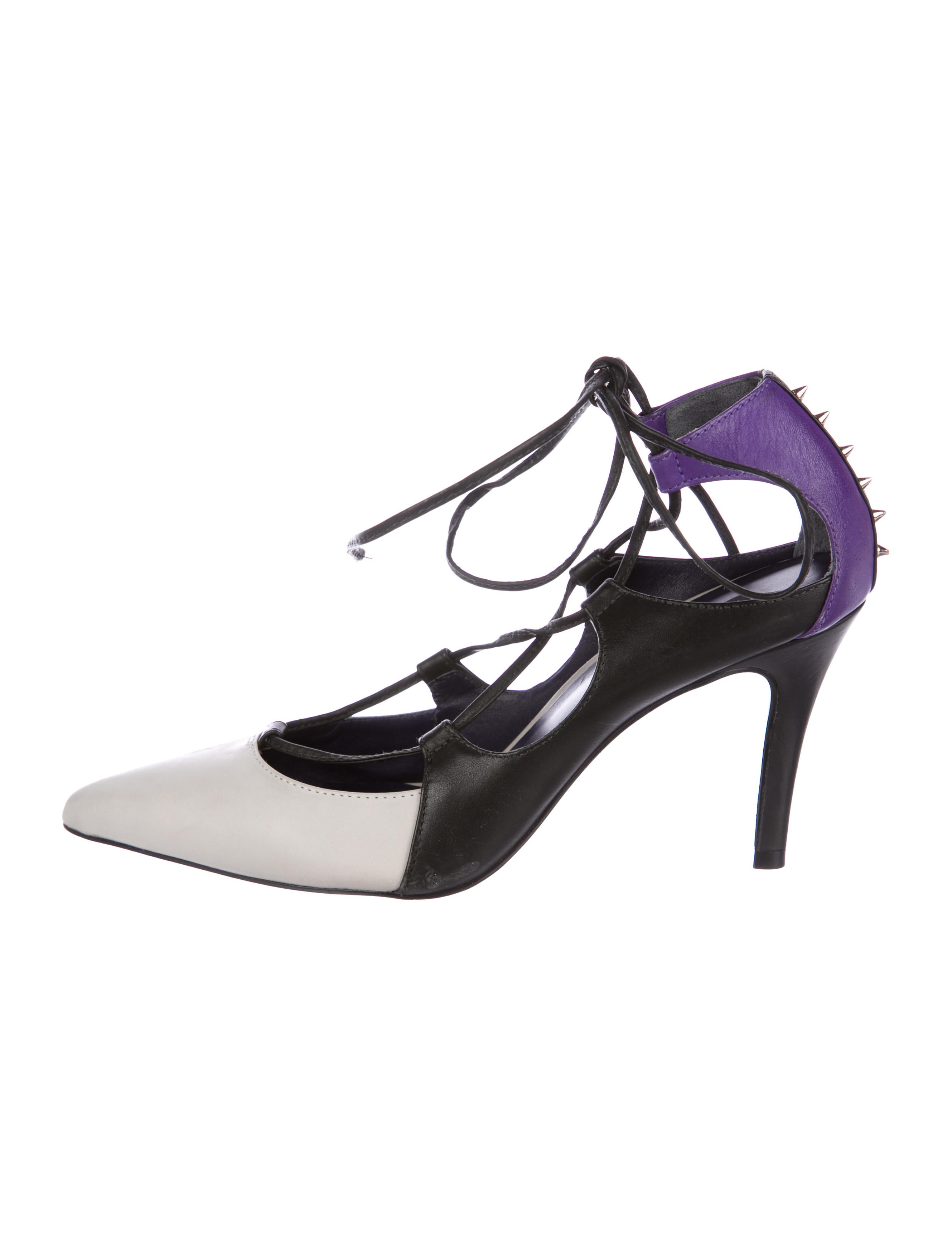 buy cheap 2014 new cheap sale real Ruthie Davis Leather Lace-up Pointed-Toe Color-Blocked Pumps outlet store online FTZsQDDi