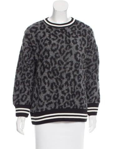 R13 Animal Print Crew Neck Sweater None