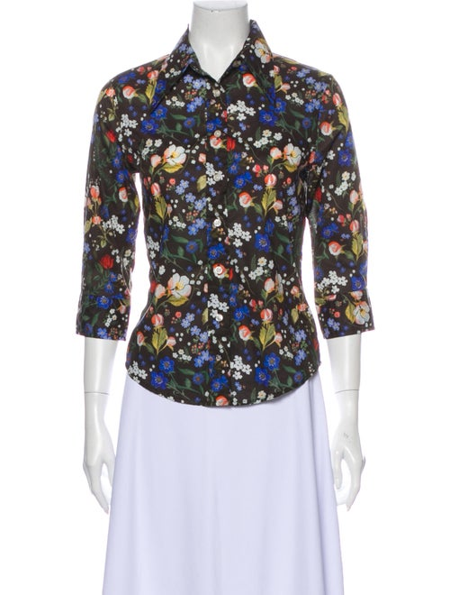 R13 Floral Print Three-Quarter Sleeve Button-Up To