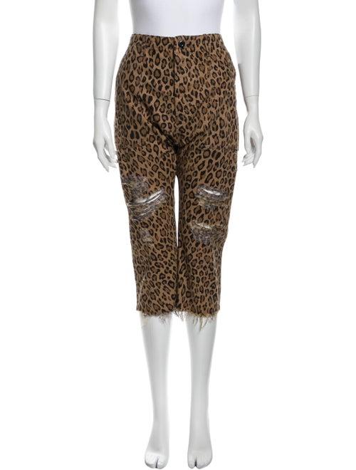 R13 Animal Print Straight Leg Pants Black