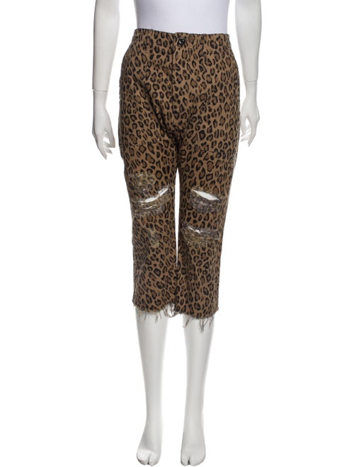 R13 Animal Print Straight Leg Pants Brown