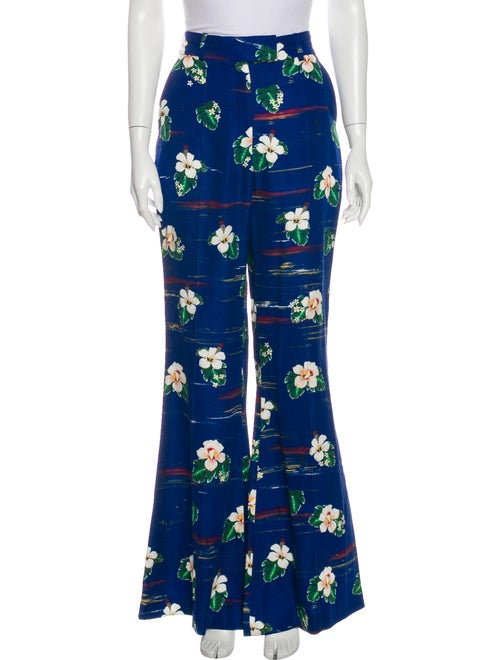 Racil Floral Print Wide Leg Pants Blue