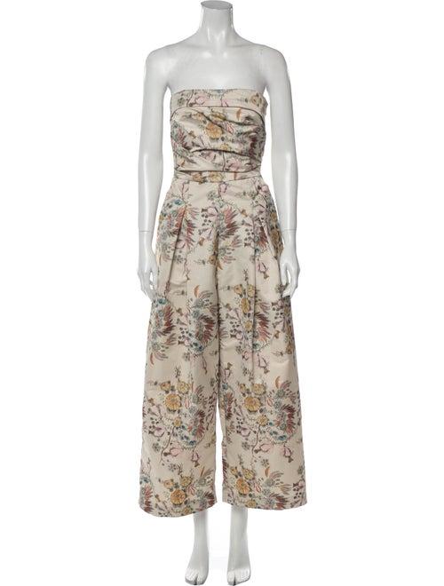 Rachel Comey Floral Print Strapless Jumpsuit