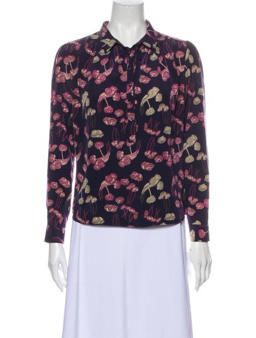 Rachel Comey Silk Floral Print Button-Up Top Purpl