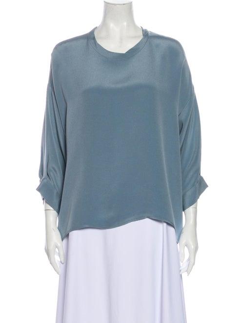 Rachel Comey Silk Scoop Neck Blouse Blue