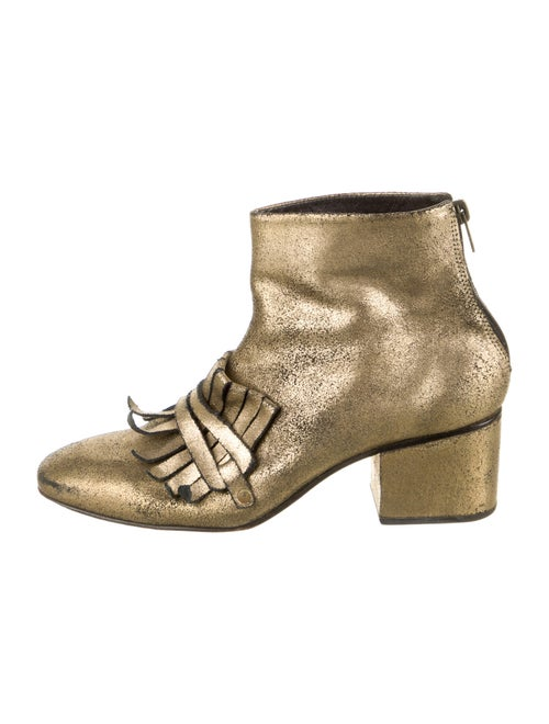 Rachel Comey Leather Distressed Accents Boots Gold