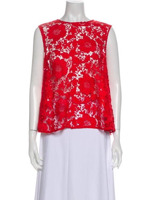 Rachel Comey Lace Pattern Crew Neck Blouse Red
