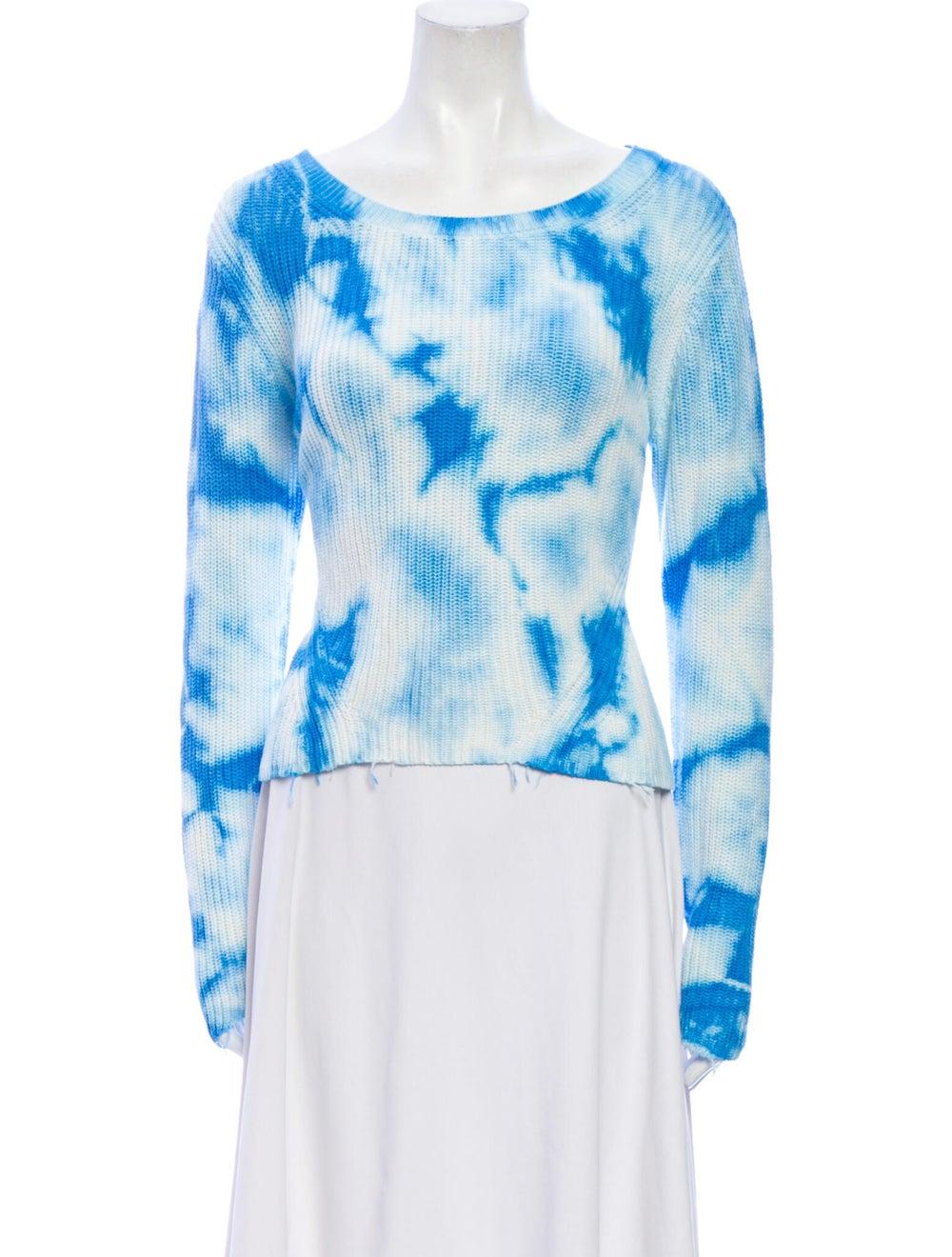 Raffi Tie-Dye Print Scoop Neck Sweater Blue - image 1