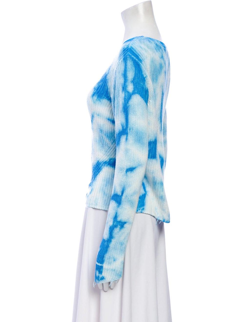 Raffi Tie-Dye Print Scoop Neck Sweater Blue - image 2