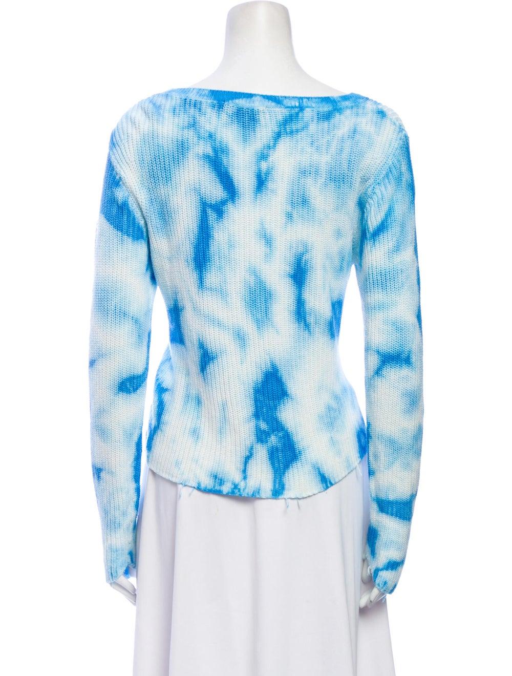 Raffi Tie-Dye Print Scoop Neck Sweater Blue - image 3
