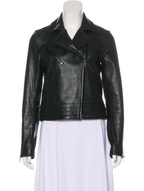 Rag & Bone Leather Moto Jacket Green