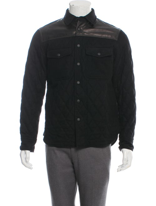 Rag & Bone Leather-Accented Wool Shirt Jacket blac