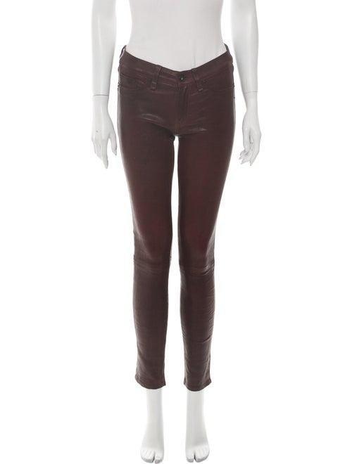 Rag & Bone Leather Skinny Leg Pants Red