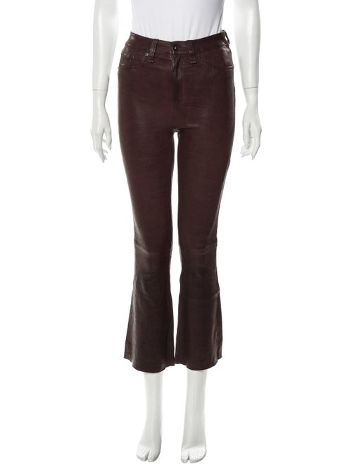 Rag & Bone Lamb Leather Straight Leg Pants Red