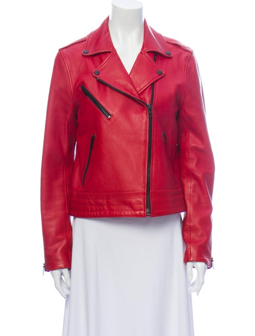 Rag & Bone Lamb Leather Biker Jacket Red