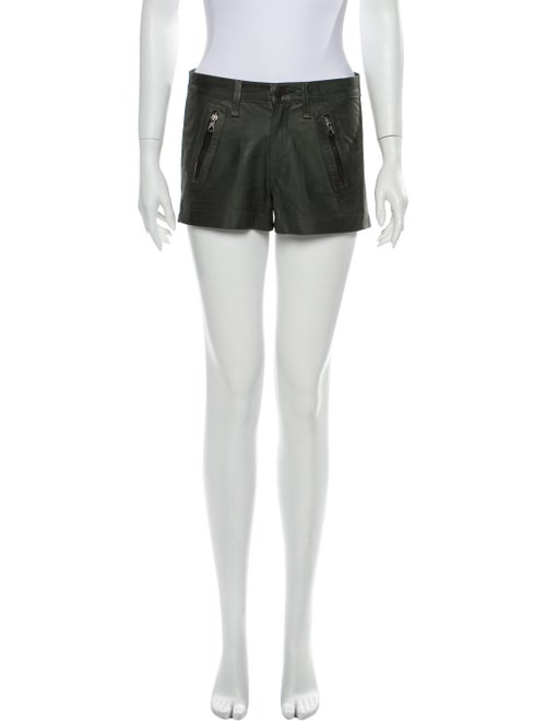 Rag & Bone Lamb Leather Mini Shorts Green