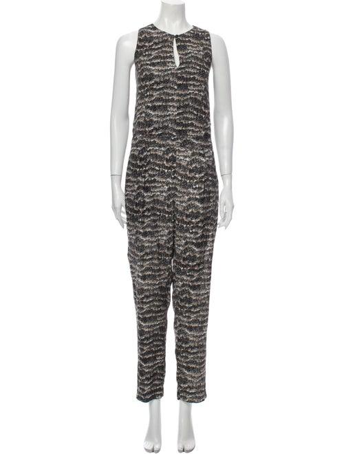 Rag & Bone Silk Printed Jumpsuit Black