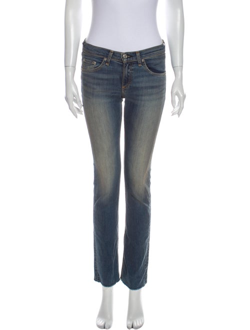 Rag & Bone Low-Rise Straight Leg Jeans Blue