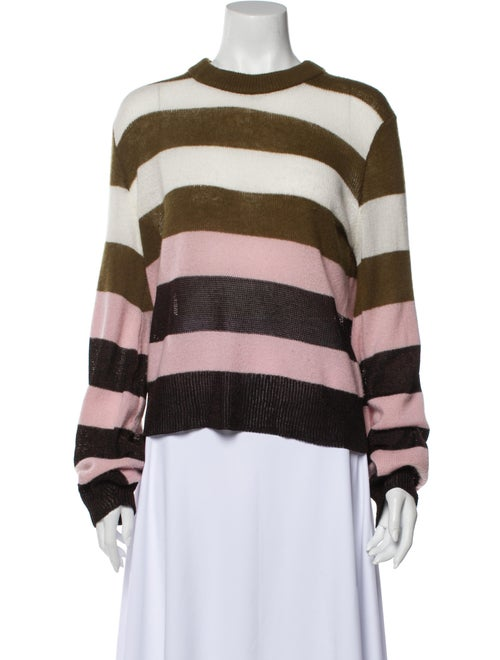 Rag & Bone Striped Crew Neck Sweater Green