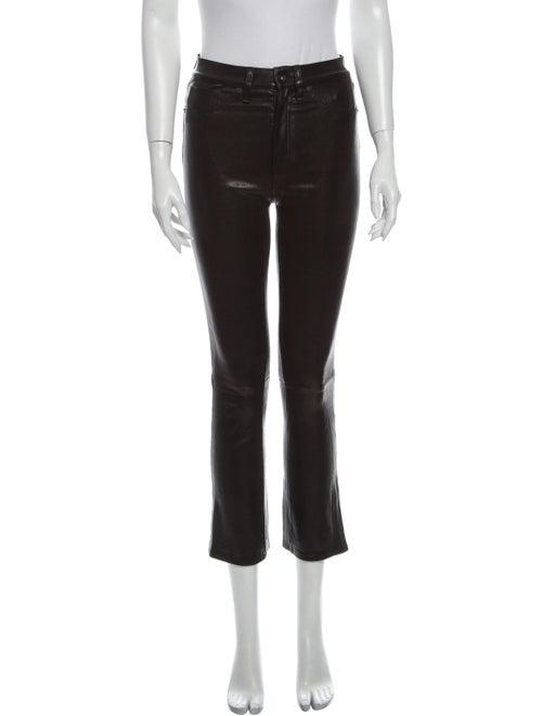 Rag & Bone Lamb Leather Straight Leg Pants Black - image 1