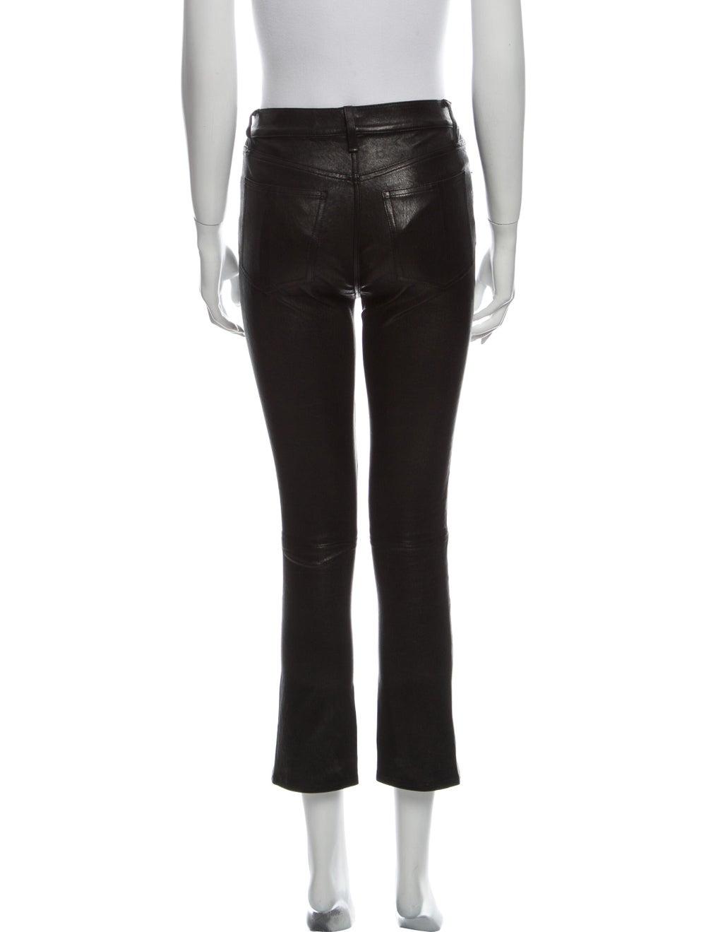 Rag & Bone Lamb Leather Straight Leg Pants Black - image 3