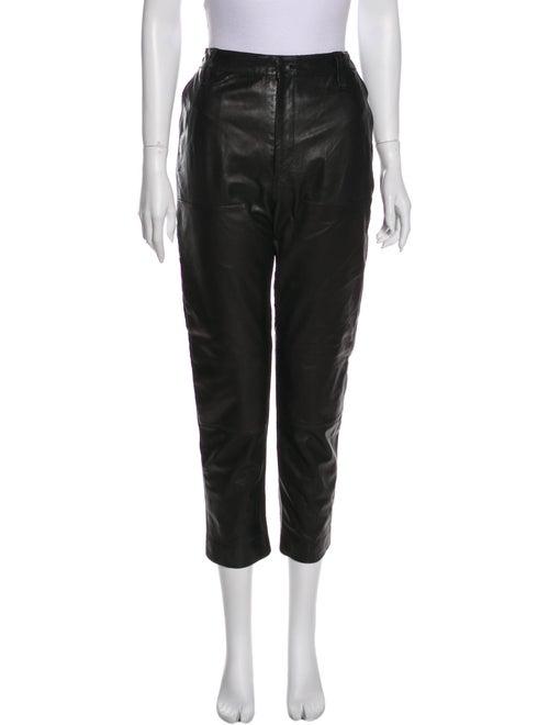 Rag & Bone Lamb Leather Straight Leg Pants Black