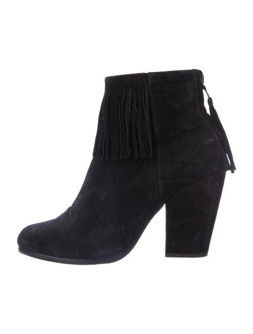Rag & Bone Suede Fringe Trim Accent Boots Black